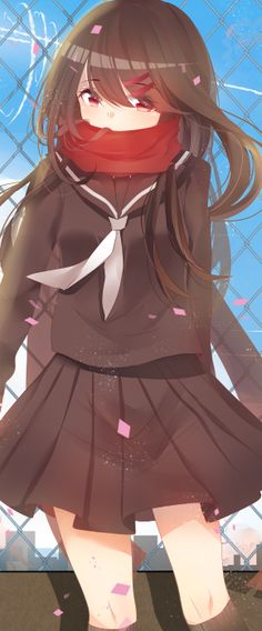 Tags: Anime, Outdoors, Black Shirt, Covered Mouth, Kagerou Project, Black Skirt, Tateyama Ayano