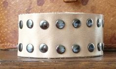 NATURAL color LEATHER CUFF bracelet studded one by whackytacky, $29.99