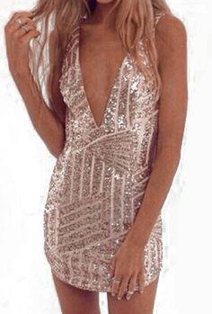 V Neck Sequined Bodycon Dress 18.33