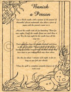 Banish a Person Spell, Book of Shadows Page, BOS Pages, Rare Witchcraft Spells
