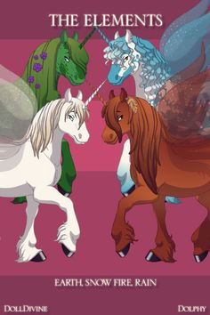 THE ELEMENTS  these are female horse versions of the elements  top left is Earth, bottom left is Snow top right is Rain, bottom right is Fire