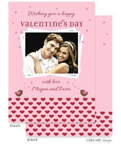 Chirping Birds on Hearts Valentine's Day Flat Digital Photo Card   Invitations by Design