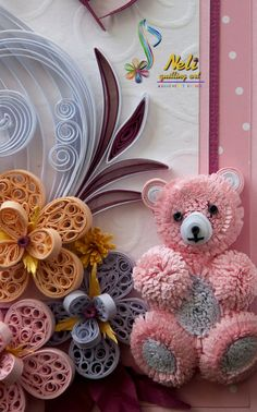 neli: Quilling card and teddy bear