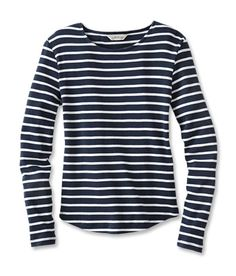 striped long-sleeve cotton tee.