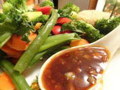 Steamed Vegetables with Garlic Sauce [V, GF]