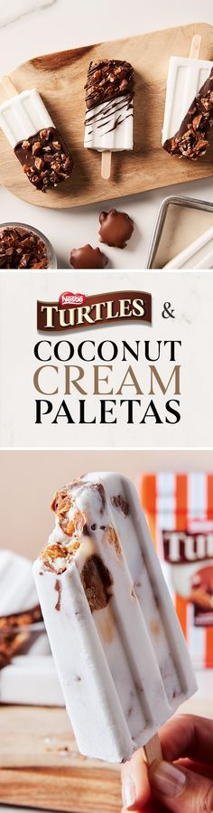 Hot days call for frozen treats! Make a splash at your next pool party with these TURTLES & Coconut Cream Paletas.