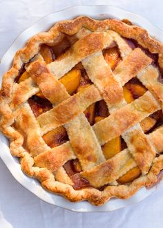 Rustic brown sugar peach pie with an all butter crust via