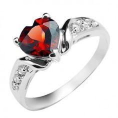 Heart Shape 1 Carat Garnet Engagement Ring on Sale