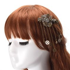 1pc Lolita Lady Vintage Gear Tassels Hair Clip Gothic Steampunk Punk Headwear