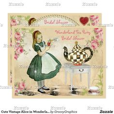 Cute Vintage Alice in Wonderland Bridal Shower Card