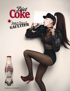 NIGHT MODEL SINGLE PAGE - DIET COKE by JEAN PAUL GAULTIER: Couture Bottles + AD Campaign by STÉPHANE SEDNAOUI -