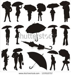 vector illustration of people under umbrella - stock vector
