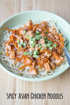 5 Ingredient Spicy Asian Chicken Noodles featuring a Thai orange simmer sauce from 5DollarDinners.com