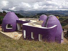 Purple, crisp earthbag house