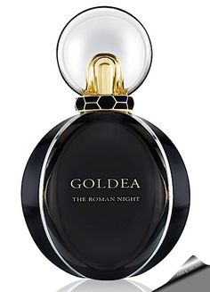"Bvlgari ""Goldea The Roman Night "" Eau de Parfum. Top notes: bergamot, black pepper, mulberry. Heart: black peony, night-blooming jasmine, rose, tuberose. Base: patchouli, black musk, vetiver, moss."