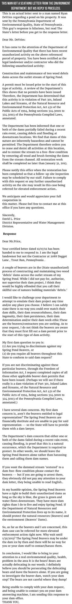 Man Receives Scathing Letter From Environmental Department His Reply Is Priceless funny jokes story lol funny quote funny quotes funny sayings joke hilarious humor stories funny jokes