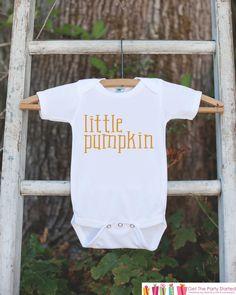 Kids Halloween Shirt - Little Pumpkin Shirt - Halloween Tshirt or Onepiece - Baby Boy or Baby Girl Halloween Outfit - Halloween Costume