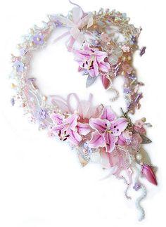"""Комплект """"Вальс цветов"""" - авторские украшения,колье с цветами,браслет с цветком"""