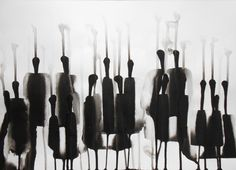 A3 Original Fine Art Modern Zen Ink Wash Painting by Manjuzaka