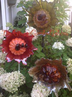 Pumpkin flower, Glass plate garden flower, Glass garden art, yard art, repurposed recycled up cycled glass, unique garden decor, sun catcher,  www.TheGlassyGardenGal.com