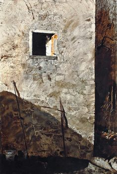 """The Pikes"" by Andrew Wyeth. 1965 watercolor on paper. In the collection of The San Diego (CA) Museum of Art, on loan to The National Gallery of Art, Washington, DC, for the 2014 Andrew Wyeth exhibition."