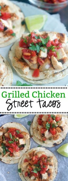 Marinated grilled chicken served on top of corn tortillas and topped your favorite fixings. These Grilled Chicken Street Tacos are a delicious homemade version of Mexican street tacos. Mexican Grilled Chicken, Marinated Grilled Chicken, Skewer Recipes, Snack Recipes, Snacks, Baker Recipes, Cooking Recipes, Flank Steak Tacos, Recipetin Eats