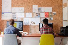 office - cork board, Modus chairs, timber veneer door used as desk and worktop Veneer Door, Home Office, Desk, Architecture, Table, Chairs, Furniture, Space, Board