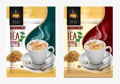 Food Packaging Design, Coffee Packaging, Coffee Branding, Buckwheat Tea, Label Design, Package Design, Cocoa Tea, Tea Brands, Juice Drinks