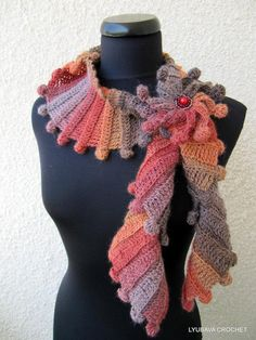 You have to see Multicolour Broun Scarf With Flower  on Craftsy! - Looking for crocheting project inspiration? Check out Multicolour Broun Scarf With Flower  by member Lyubava Crochet. - via @Craftsy