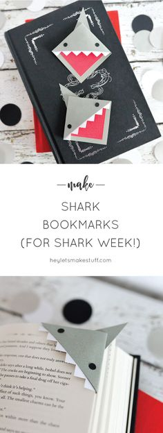 """Make these happy little """"shark mark"""" bookmarks! Great for celebrating Shark Week or for any time you're diving into a particularly delicious book. book Shark Bookmarks - PDF Template AND Cut Files Kids Crafts, Summer Crafts, Crafts To Do, Craft Projects, Paper Crafts, Cool Crafts, Rainy Day Crafts, Paper Glue, Diy Bookmarks"""