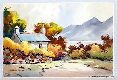 Autumn by the Lake : An Original 1950's California Watercolor (0075)