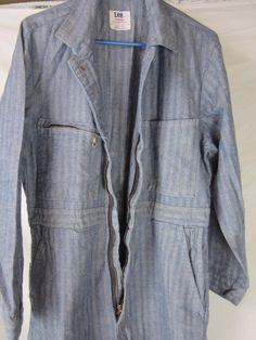 Vintage Herringbone Denim Lee Union Alls Size 42 Mechanic Dual Zipper Coveralls | eBay