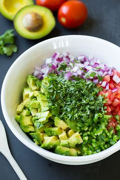 Ingredients  6 medium roma tomatoes (20 oz), seeded and diced 1 cup chopped red onion, chopped 1 large or 2 small jalapeños, seeded and chopped (1/4 cup. Leave seeds if you like heat) 3 medium avocados, semi-firm but ripe, peeled, cored and diced 3 1/2 Tbsp olive oil 3 Tbsp fresh lime juice 1 clove garlic, finely minced 1/2 tsp salt (more or less to taste as desired) 1/4 tsp freshly ground black pepper 1/2 cup loosely packed cilantro leaves, chopped