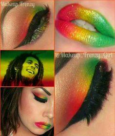 Gorgeous Bob Marley Inspired Make Up. Eye Makeup Art, Makeup Tips, Beauty Makeup, Makeup Ideas, Bob Marley Costume, Rasta Party, Rasta Nails, Rasta Colors, Rave Makeup