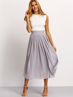 From tea party to office party- the Elastic Waist Maxi Skirt features a gorgeous silhouette, soft pleats and an elastic waist. Pair with single sole heels for a simple classy look.