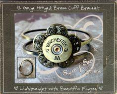 Bullet Jewelry Shotgun Casing Hinged Cuff Bracelet by ScarlettSage, $22.50