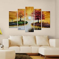 """Modern Hand Painted Canvas painting Art Work for Wall Decor Home Decoration """"Four Seasons Tree"""" 5-Piece Gallery-Wrapped Flower Oil Painting On Canvas Artland http://www.amazon.com/dp/B00ZZJ412E/ref=cm_sw_r_pi_dp_5LfSvb1939DQ2"""