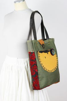 Canvas and Leather Tote Bag-Military Canvas by NeroliHandbags