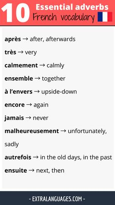 French Language Lessons, French Lessons, List Of Adverbs, Vocabulary List, English Study, France, Learn French, Old Things, Image
