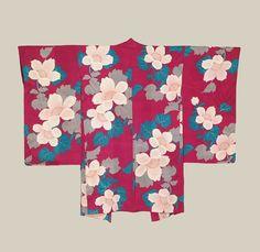 Haori, Late Taisho to Early Showa era (1920-1940). A silk haori featuring silk-screened blossoms on a rinzu background. The Kimono Gallery