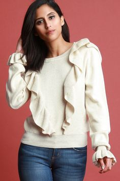 fb73664808756c Ruffled Trumpet Sleeve Ribbed Knit Sweater Top