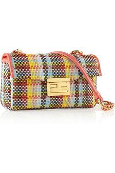 FENDI Be Baguette mini woven straw shoulder bag