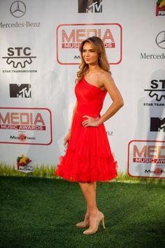 "The beautiful Magda Palimariu, wearing Parlor red dress at ""Media Music Awards""! #parlorstudio #specialdress #fashion"
