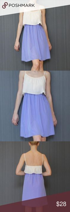 Brand new, flounce dress Brand new!! White and lavender, color block dress Peaches N Cream Dresses Midi