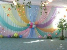 Beautiful Curtains Decorations for Birthday Parties - ArtCraftVila Backdrop Decorations, Balloon Decorations, Birthday Party Decorations, Baby Shower Decorations, Wedding Decorations, Birthday Parties, Spring Decorations, Birthday Backdrop, Party Kulissen