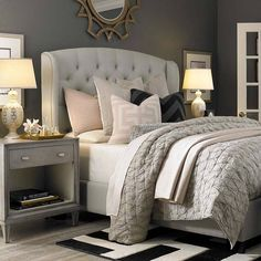 cozy bedroom with tufted upholstered bed, neutral light grey linens w/ soft pink accents, black and white rug - Model Home Interior Design Small Master Bedroom, Cozy Bedroom, Dream Bedroom, Master Bedrooms, Master Suite, Blush Bedroom, Master Bedroom Furniture Ideas, White Bedrooms, Bedroom Dressers
