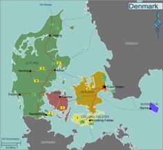 Region map of Denmark Denmark Tourism, Denmark Map, Denmark Travel, Copenhagen Denmark, Aalborg, Odense, Hans Christian, Aarhus, Travel Info