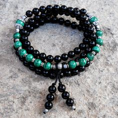108 bead mala onyx and malachite wrap bracelet or necklace by #lovepray #jewelry