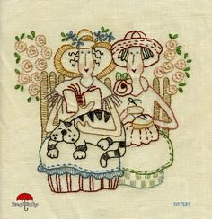 Free Red Brolly Cat Stitchery patterns::Catalicious B.sample of A type of embroidery for cards. Needlepoint Patterns, Hand Embroidery Patterns, Vintage Embroidery, Embroidery Applique, Cross Stitch Embroidery, Machine Embroidery, Crazy Quilting, Broderie Primitive, Red Brolly