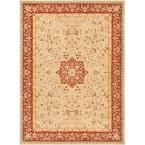 Ushak Sophia Ivory 7 ft. 10 in. x 9 ft. 10 in. Traditional Area Rug